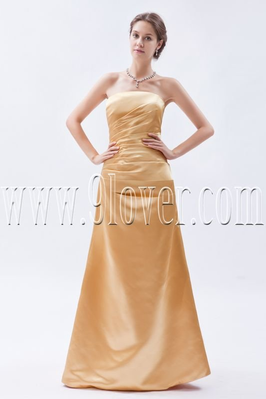 modern gold satin strapless a-line floor length mother of the bride dress IMG-8974