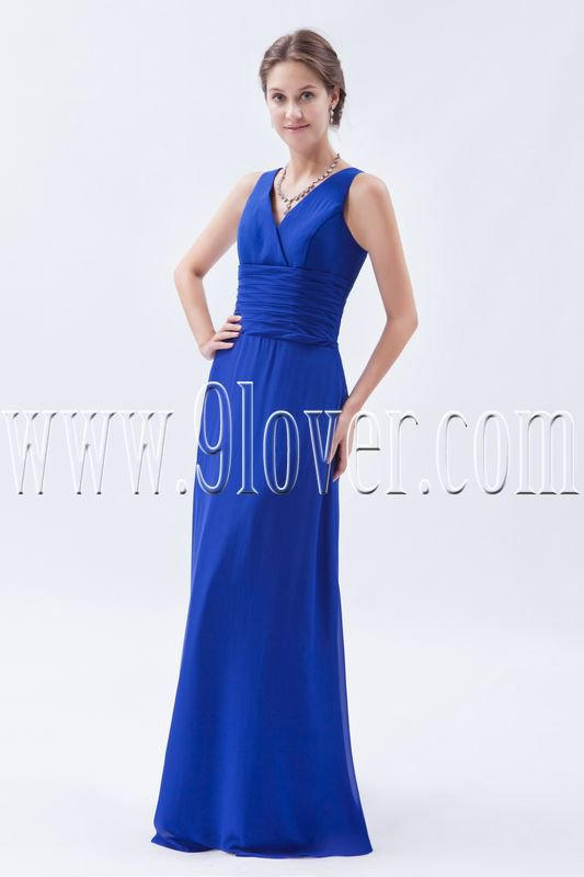 a-line floor length royal blue chiffon v-neckline floor length evening dress IMG-9007
