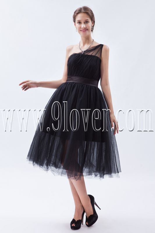 black tulle one shoulder ball gown tea length prom dress IMG-9016