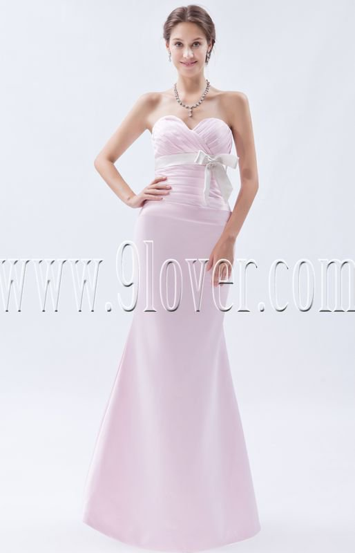 stunning pearl pink satin sweetheart a-line floor length prom dress IMG-9029