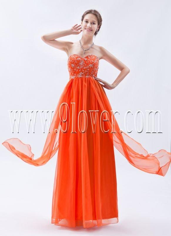empire orange chiffon sweetheart floor length bridesmaid dress IMG-9039