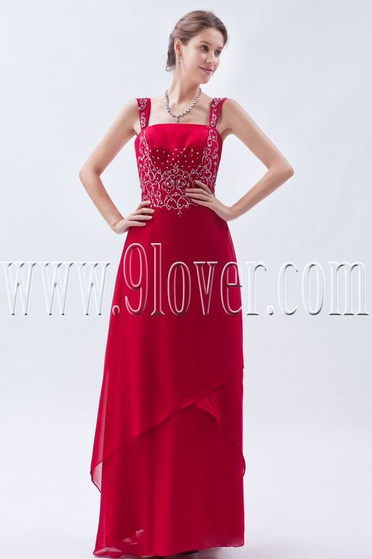 charming red chiffon straps a-line floor length prom dress IMG-9053