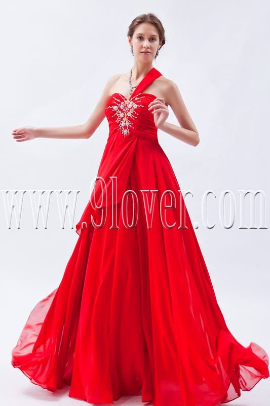 a-line floor length red chiffon one shoulder formal evening dress IMG-9065