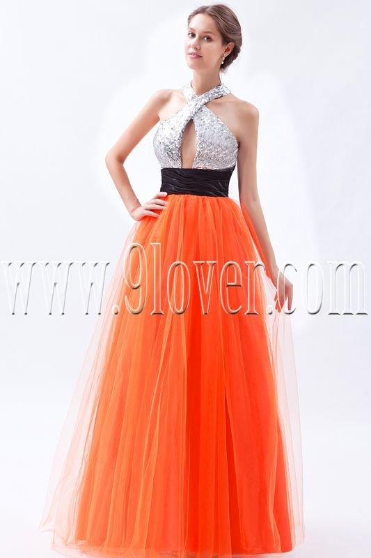 silver and orange halter neckline column floor length prom dress IMG-9077