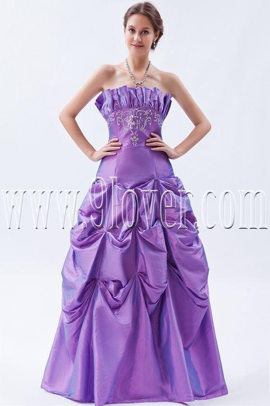 violet taffeta strapless a-line floor length pageant dress IMG-9087