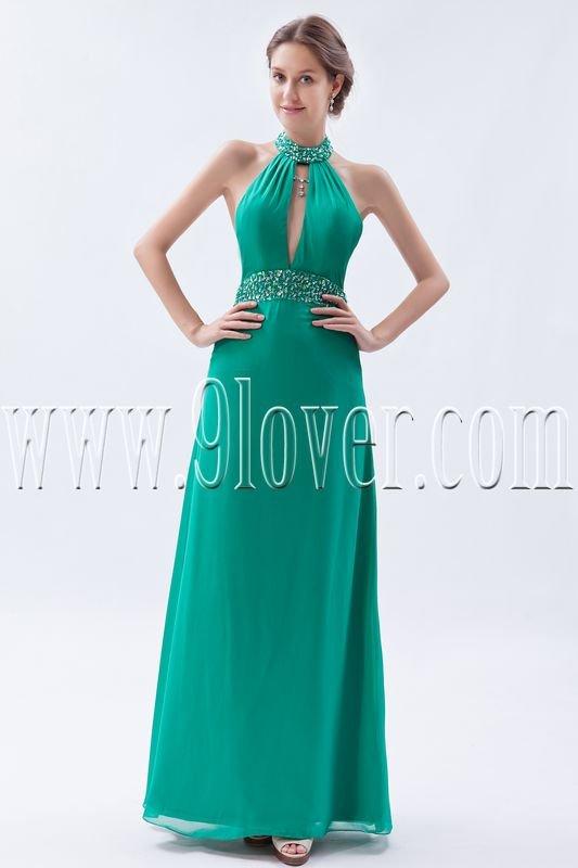 elegant hunter chiffon halter neck a-line floor length bridesmaid dress IMG-9102