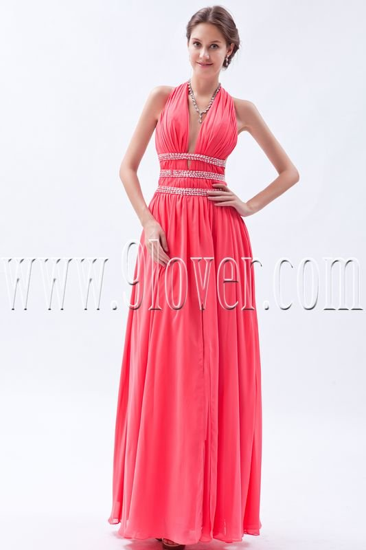 exclusive water melon chiffon halter neck a-line floor length formal evening dress IMG-9113