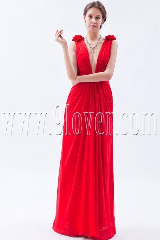 sexy red chiffon deep v-neck a-line floor length formal evening dress IMG-9124