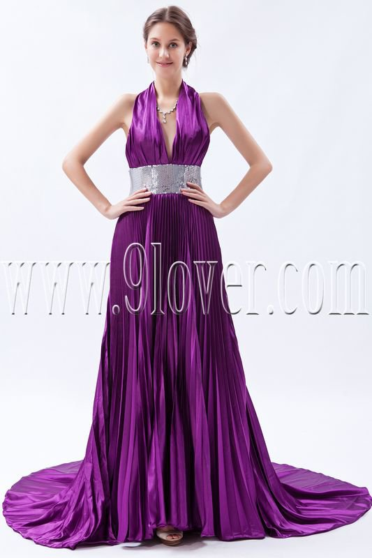 charming regency satin halter a-line floor length formal evening dress IMG-9155