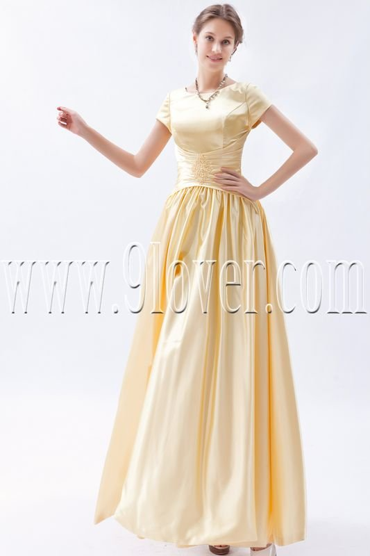 stunning daffodil satin jewel neckline a-line floor length prom dress IMG-9203