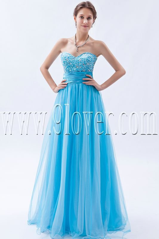 charming light sky blue tulle sweetheart column floor length prom dress IMG-9233