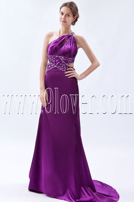 charming regency satin one shoulder a-line floor length formal evening dress IMG-9251
