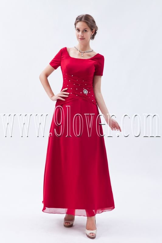 scoop neckline a-line ankle length red prom dress IMG-9263