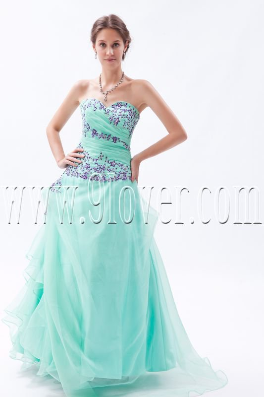 gorgeous kelly tulle sweetheart a-line floor length prom dress IMG-9294