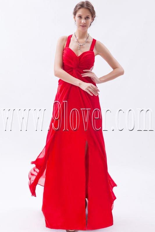 stunning red chiffon straps a-line floor length formal evening dress IMG-9316
