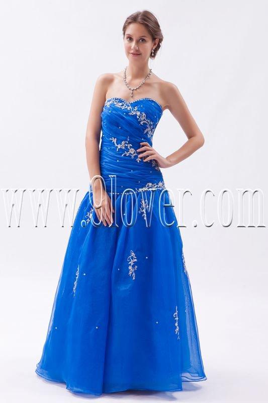 stunning royal blue organza sweetheart a-line floor length prom dress IMG-9343