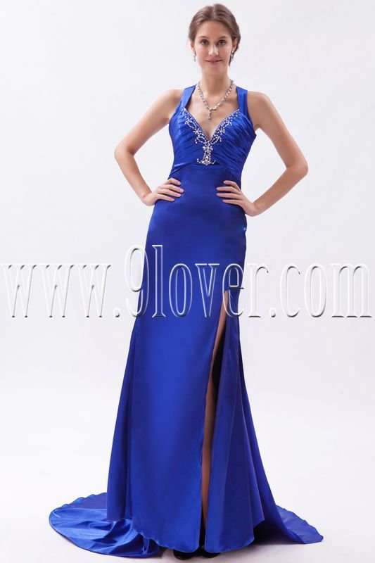 sexy deep v-neck a-line floor length royal blue satin evening dress IMG-9355