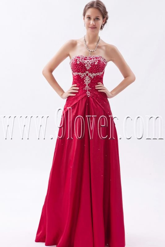 stunning red satin sweetheart a-line floor length prom dress IMG-9365