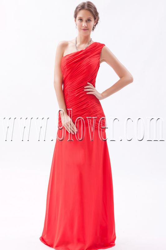 charming red chiffon one shoulder a-line floor length formal evening dress IMG-9377