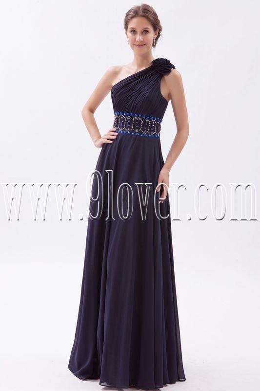 a-line floor length black chiffon one shoulder prom dress IMG-9436