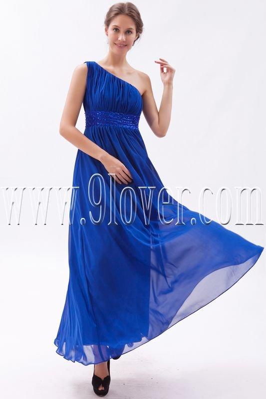 stunning royal blue chiffon one shoulder a-line ankle length bridesmaid dress IMG-9487
