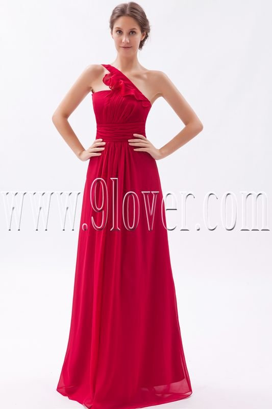 stunning red chiffon one shoulder a-line floor length bridesmaid dress IMG-9499
