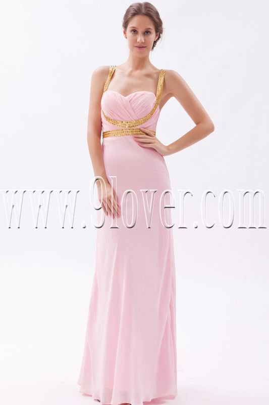 noble pink chiffon spaghetti straps a-line floor length bridesmaid dress IMG-9510