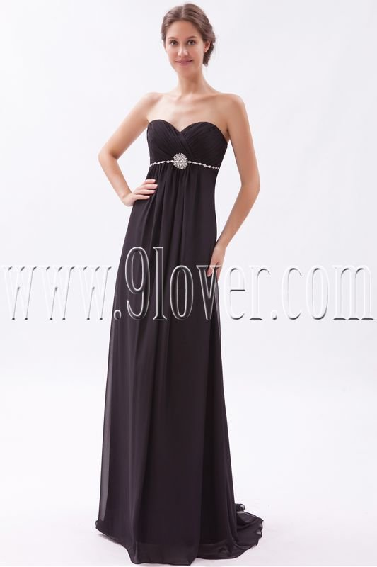 charming black chiffon sweetheart empire floor length formal evening dress IMG-9521
