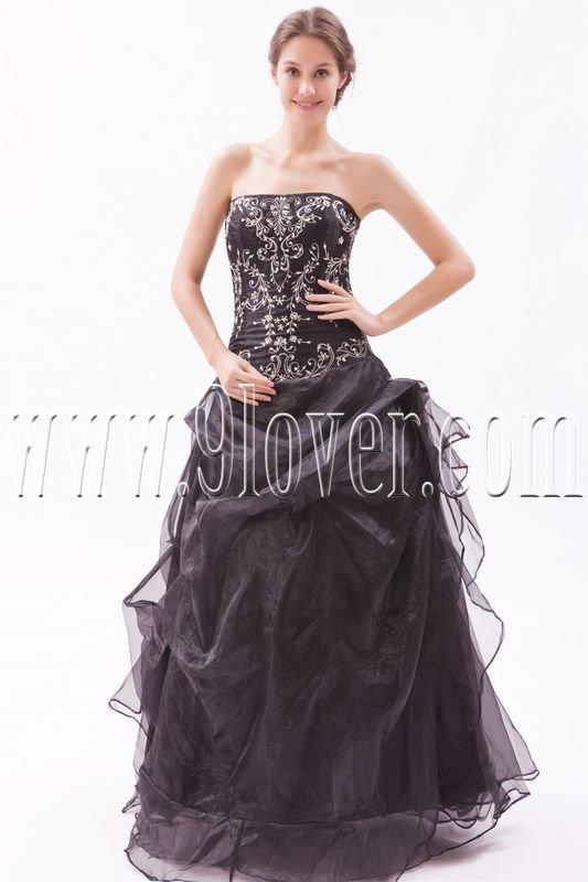 stunning black organza strapless ball gown floor length prom dress IMG-9534