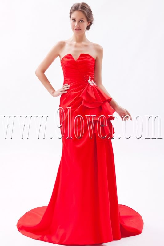 gorgeous red satin strapless a-line floor length prom dress IMG-9568