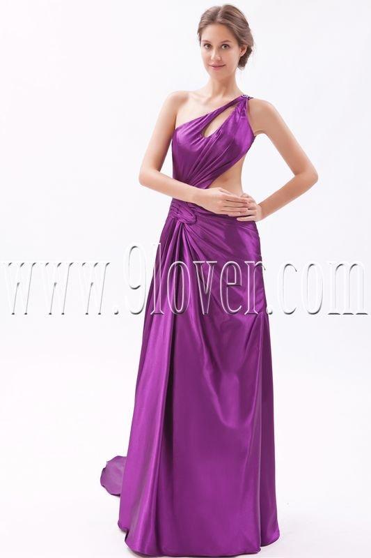 charming regency satin one shoulder a-line floor length evening dress IMG-9579
