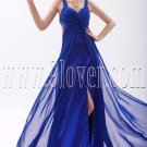 attractive royal blue chiffon straps a-line floor length evening dress IMG-9592
