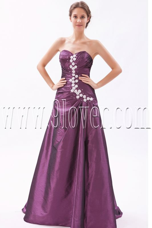stunning grape taffeta sweetheart a-line floor length prom dress IMG-9607