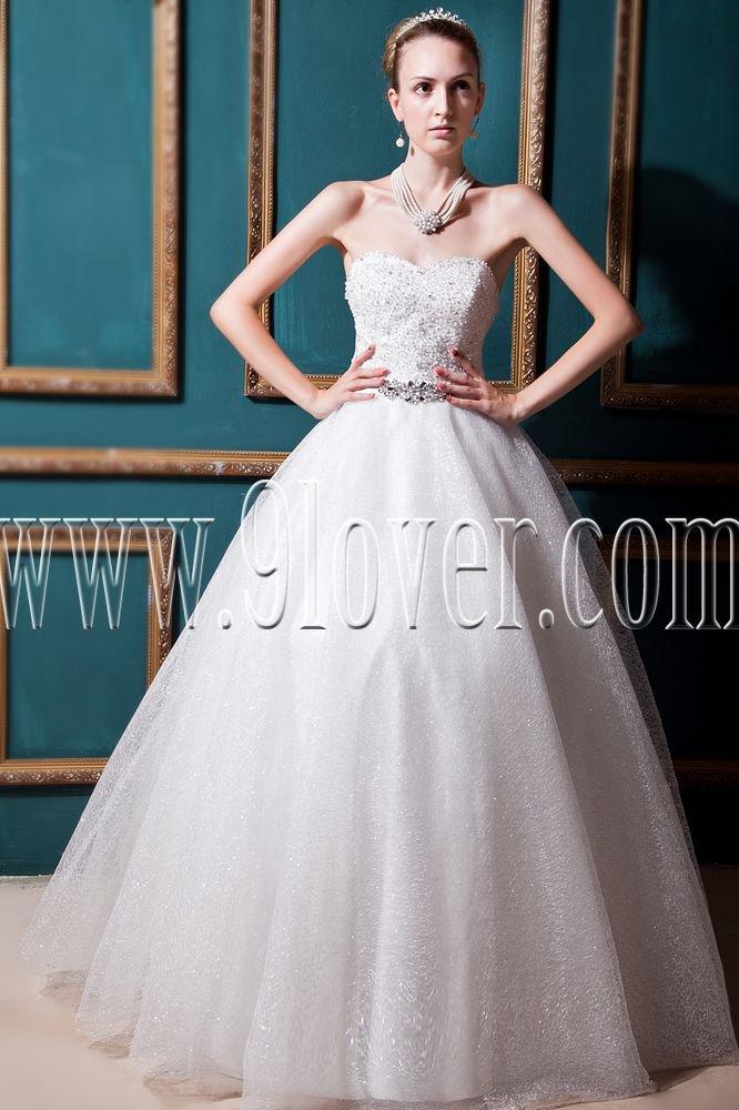 ball gown white tulle sweetheart floor length wedding dress IMG-0262
