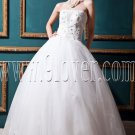 fairy tale ball gown floor length white tulle wedding dress with appliqued bodice IMG-0319