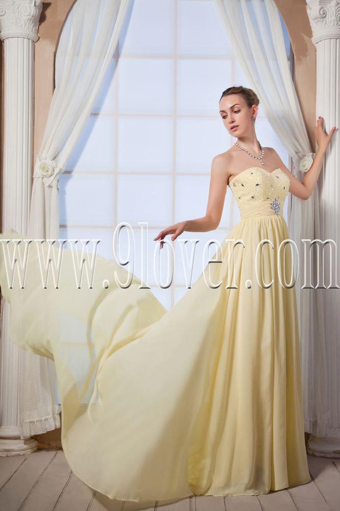 stunning yellow chiffon sweetheart a-line floor length formal evening dress IMG-0035