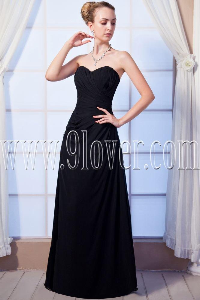 charming black chiffon sweetheart a-line floor length prom dress IMG-0061
