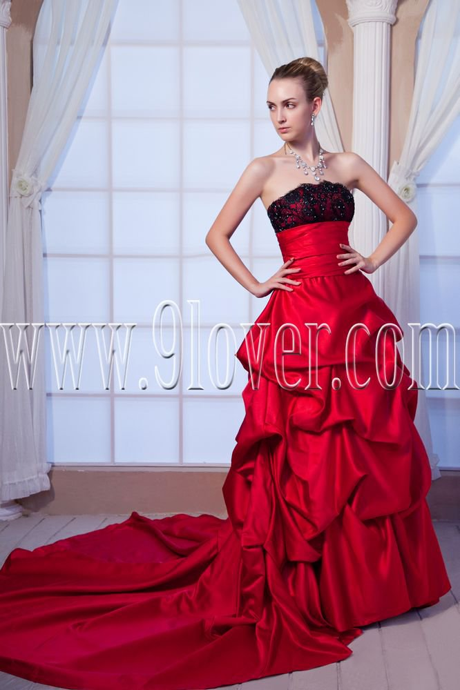 classic burgundy taffeta strapless ball gown floor length prom dress IMG-0131