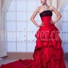 classic burgundy taffeta strapless ball gown floor length prom dress IMG-0131