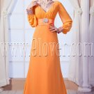 modest orange chiffon v-neckline a-line floor length long sleeves mother of the bride dress IMG-0150