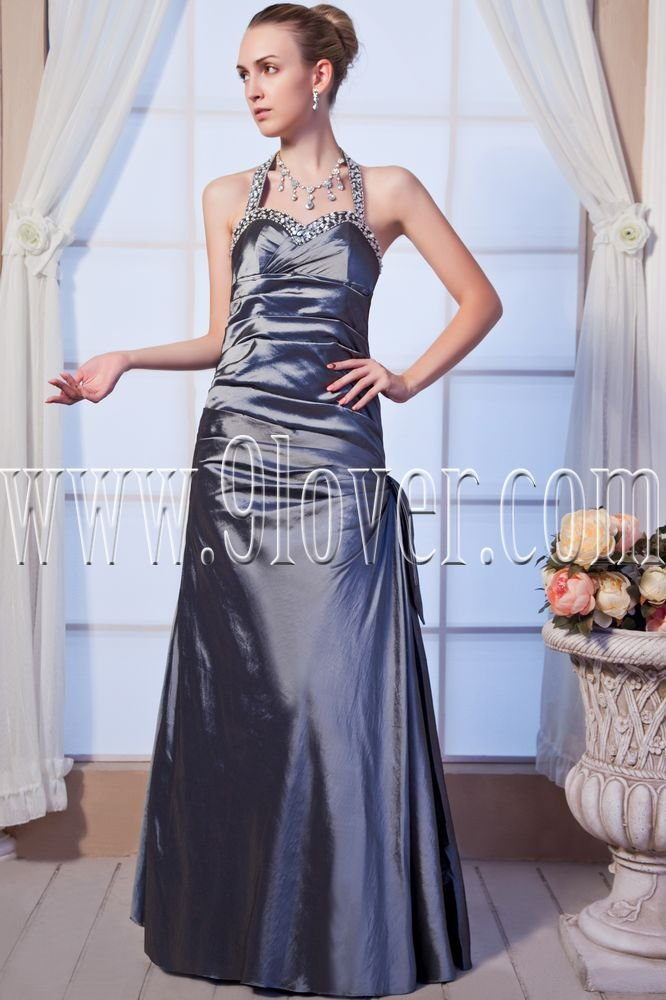 modern silver satin halter neckline a-line floor length prom dress IMG-0165