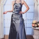modern silver satin halter neckline a-line floor length prom dress IMG-0165