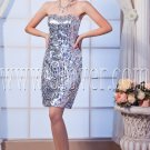 sexy and modern silver sequined lace a-line mini length cocktail dress IMG-0182