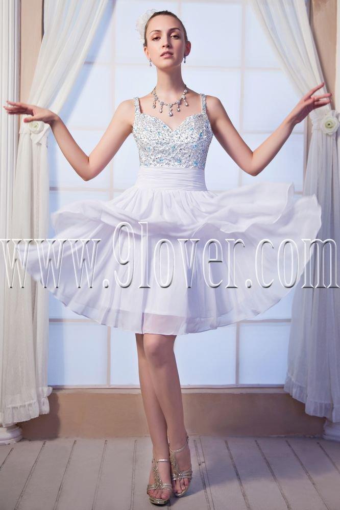 chic white chiffon spaghetti straps a-line mini length cocktail dress IMG-0198
