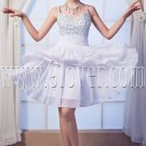 chic white chiffon spaghetti straps a-line mini length cocktail dress IMG-0198