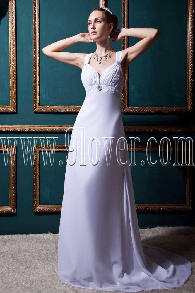 stunning white chiffon straps a-line floor length beach wedding dress IMG-0427