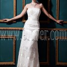 vintage strapless column ankle length sleeveless wedding dress with tassel IMG-0453