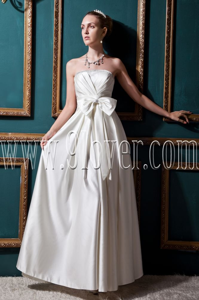 modest white satin strapless column ankle length wedding dress IMG-0469