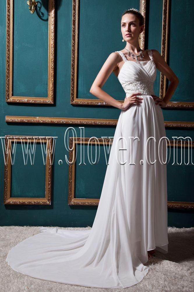 charming white chiffon straps a-line floor length wedding dress with brush train IMG-0490