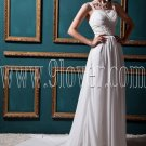 charming white chiffon straps a-line floor length wedding dress with brush train IMG-0490